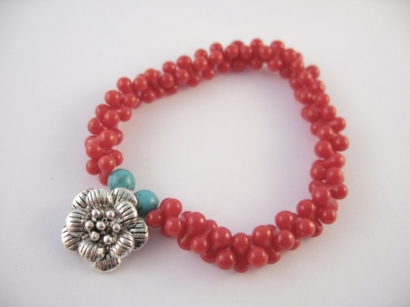 Rote Koralle Armband Blume