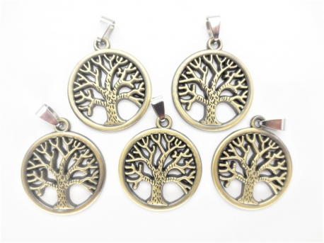 Tree of Life pendant set von 5 bronze